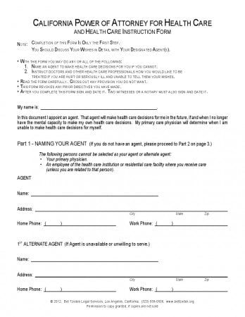 Free California Durable Power Of Attorney For Health Care Form