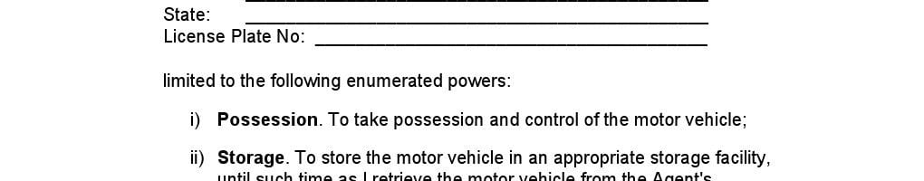 California Limited Power of Attorney for Retrieval of Motor Vehicle Form