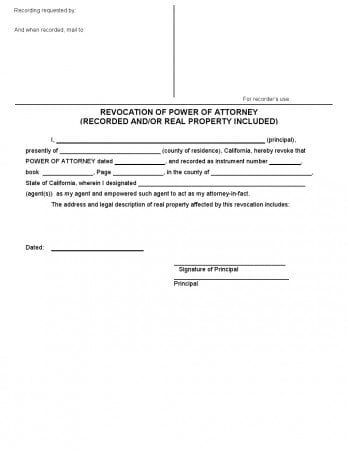Free California Revocation Of Power Of Attorney Form Adobe Pdf Word