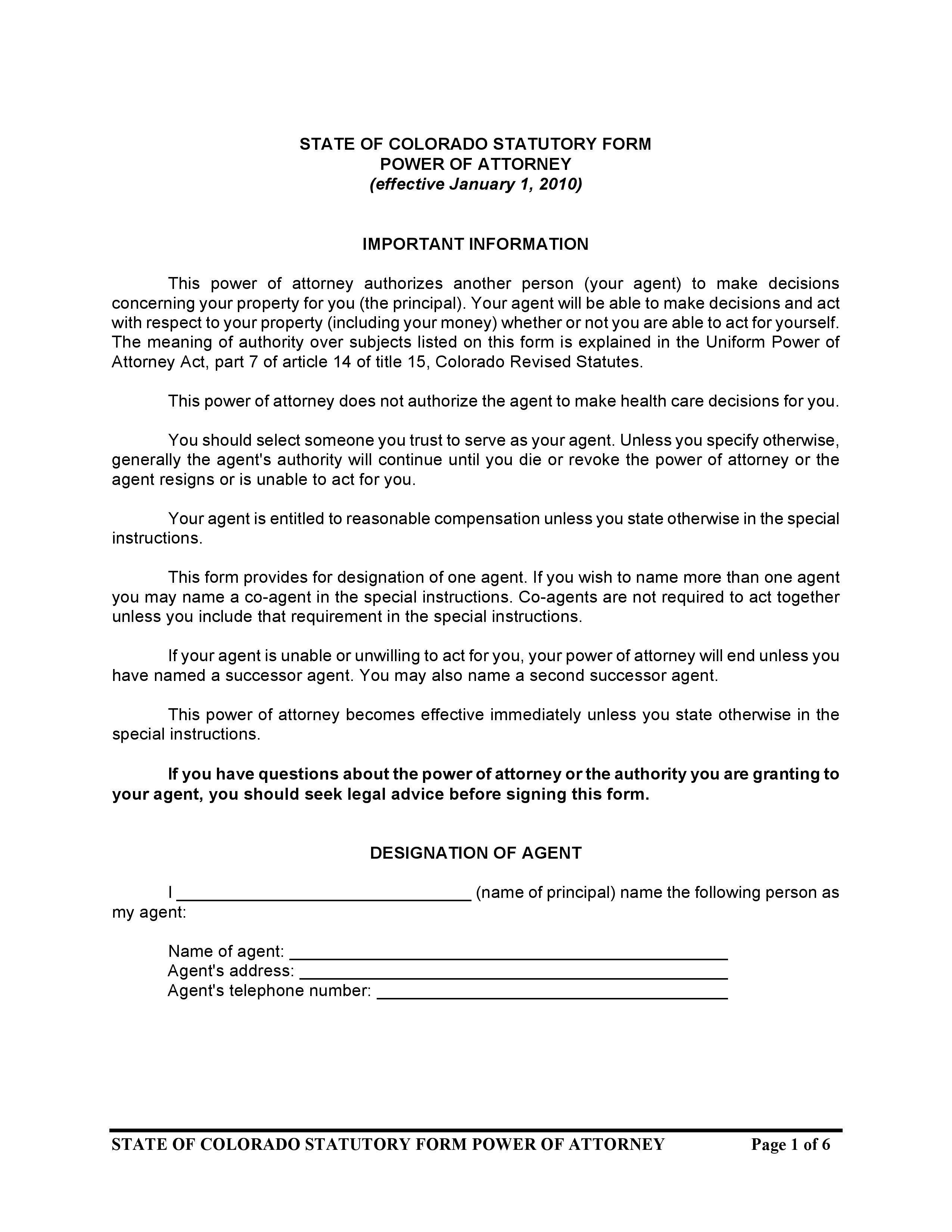 Colorado Statutory Form Power Of Attorney