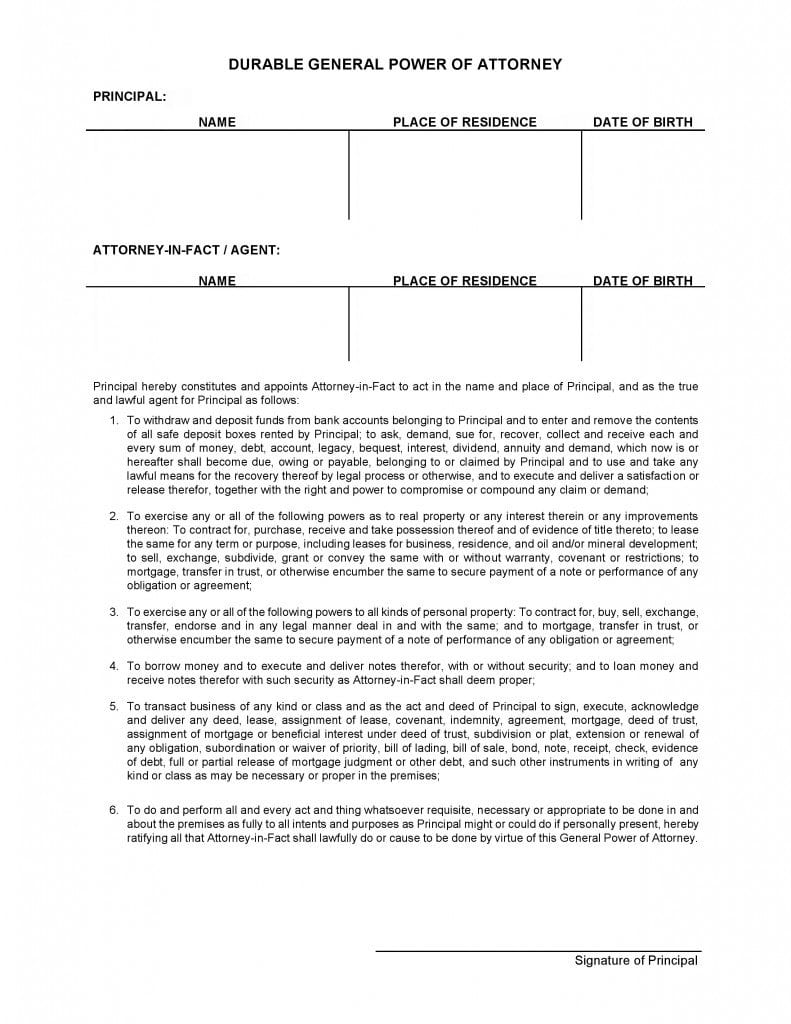 Free durable power of attorney adobe pdf word durable power of attorney form falaconquin