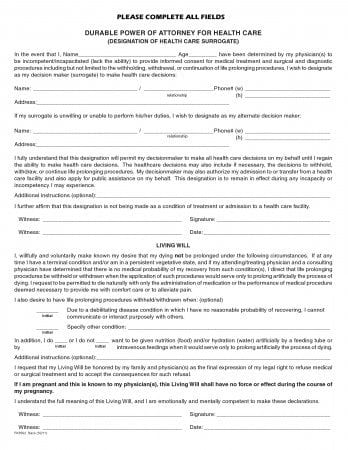 Free Florida Durable Power Of Attorney For Health Care Form Living