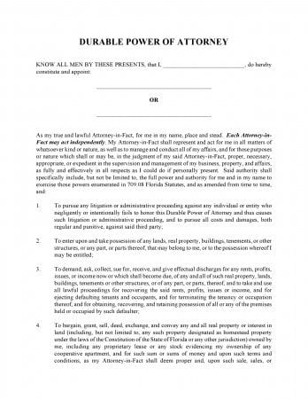 Free General Durable Power Of Attorney Florida Form | Adobe Pdf | Word