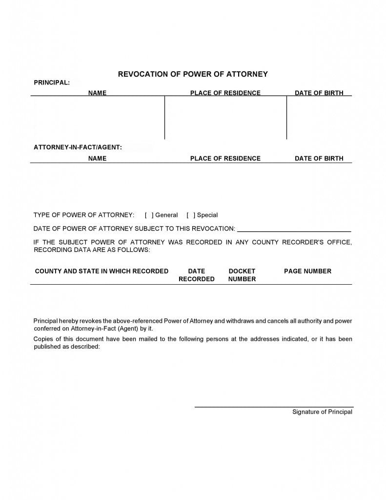 Free Power Of Attorney Revocation Forms Revoke Power Of Attorney