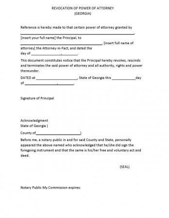 Free Georgia Revocation Power Of Attorney Form | Adobe Pdf | Word