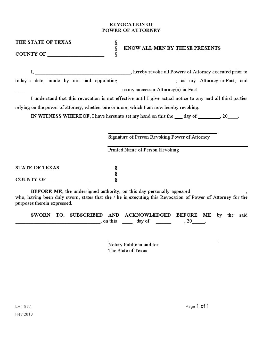 Free Texas Revocation Power Of Attorney Form Adobe Pdf Word