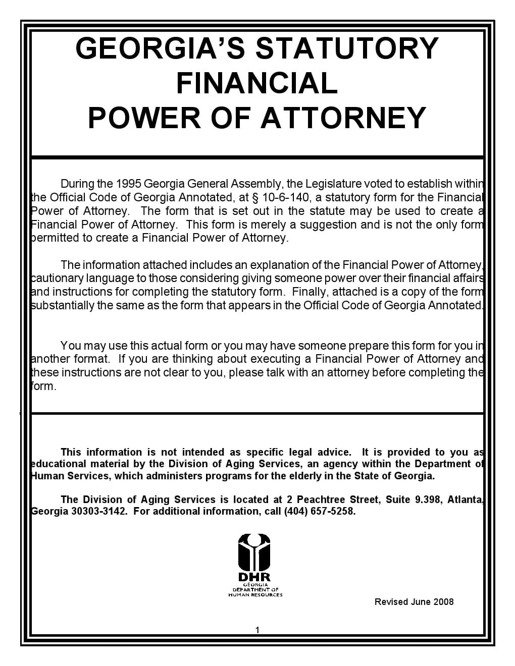 Free georgia power of attorney forms adobe pdf word statutory fiancial power of attorney georgia falaconquin