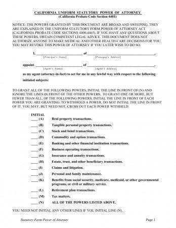 Statutory Power of Attorney California Form