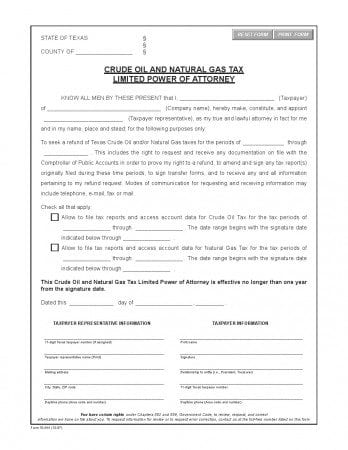 Free Texas Crude Oil Limited Power Of Attorney Form | Adobe Pdf | Word