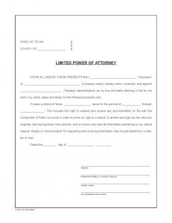 Free Texas Limited Power Of Attorney Form  Adobe Pdf  Word