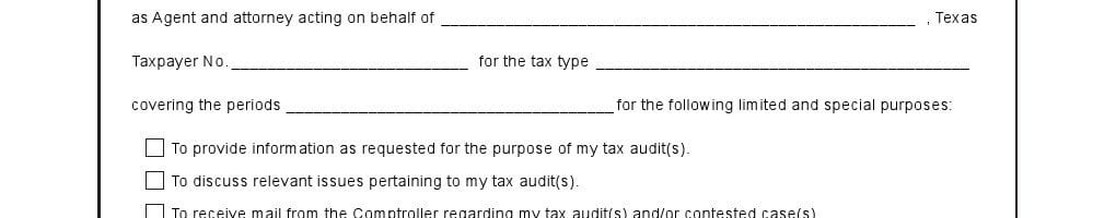 Texas Limited Power of Attorney Form for Tax Audits