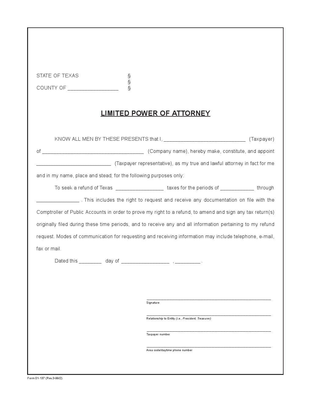 Free texas power of attorney forms adobe pdf word texas limited power of attorney form falaconquin