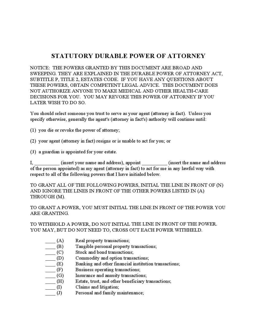 Free Texas Power of Attorney Forms | Adobe PDF | Word