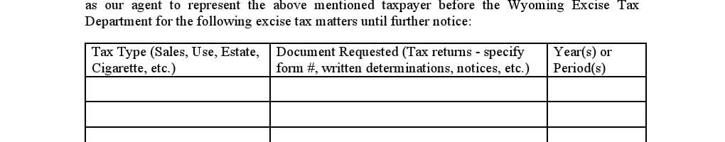 Wyoming Limited Power of Attorney Form for Excise Tax