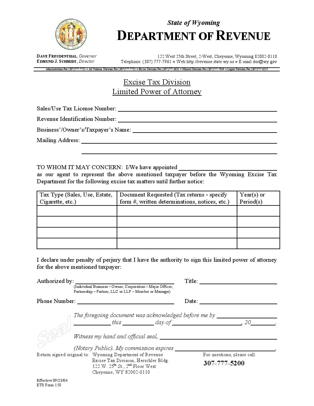 Free wyoming power of attorney forms adobe pdf word for Power of attorney to execute motor vehicle documents